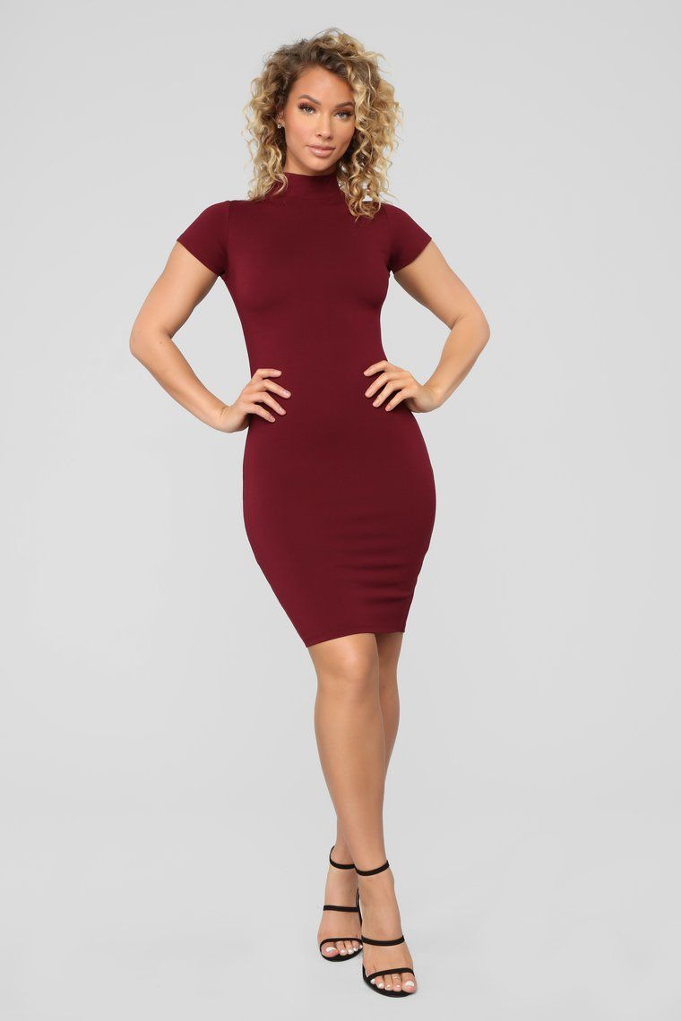 be3d77a254193 Kara Mock Neck Mini Dress - Burgundy in 2019   Fashion   Dresses ...