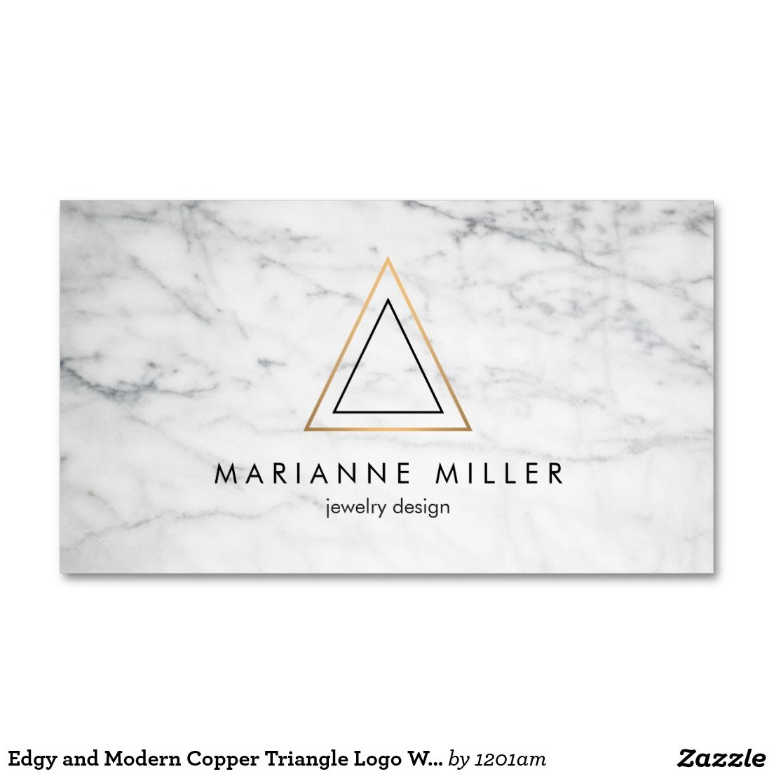 Edgy and Modern Copper Triangle on White Marble Business Card Template - Sleek and modern design for jewelry designers, architects, interior designers, boutiques and more.