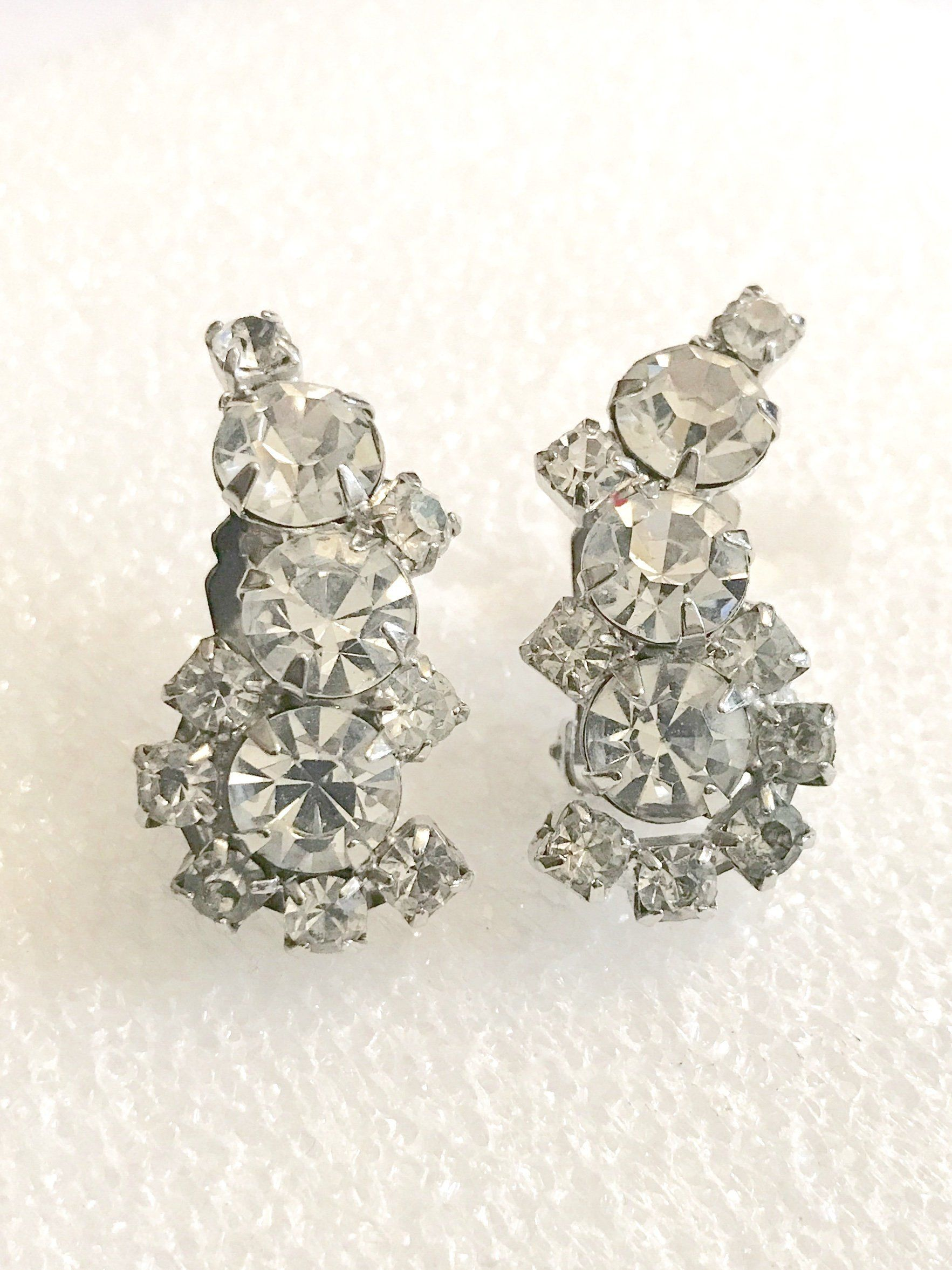 evening fashion accessories Crystal earrings rhinestone cluster beads clip back mid century jewelry bridal