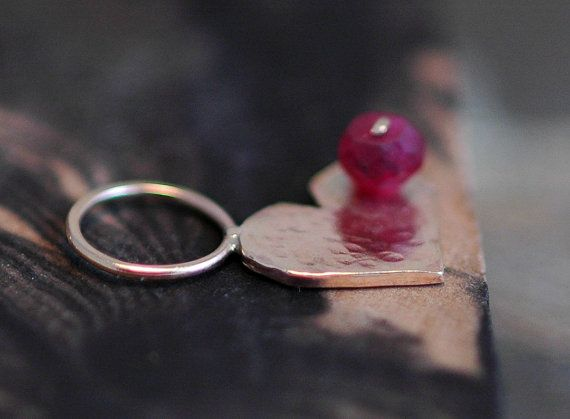 Little Hammered Heart Pendant with Tiny Ruby 14k by Specimental, $110.00