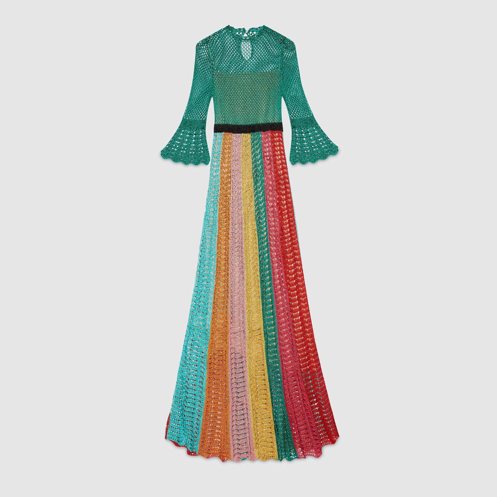 d6cc0fda6 Gucci Multi Stripe Lurex Knitted Crochet Dress in 2019   GUCCI ...