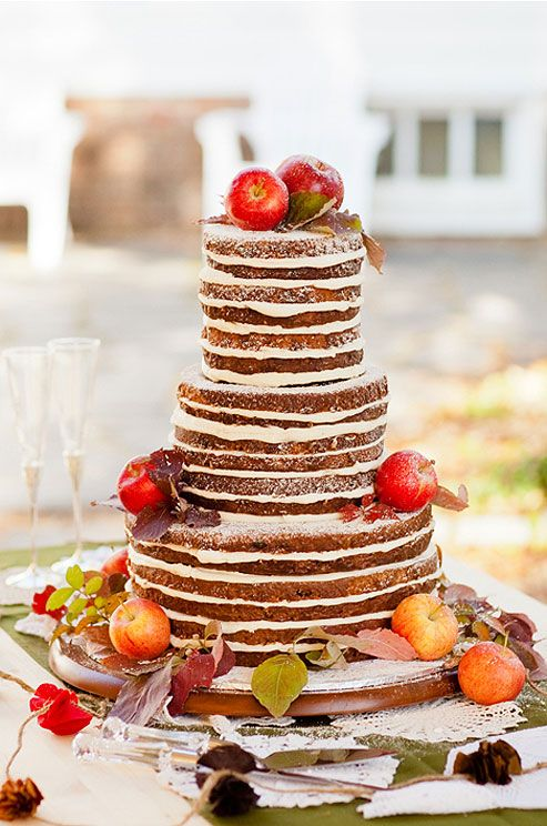 Brides: A Naked Apple Fall Wedding Cake With Fresh Fruit. A Naked Apple Cake  With Cream Cheese Frosting And A Citrus Glaze, Decorated With Fresh Apples  And ...