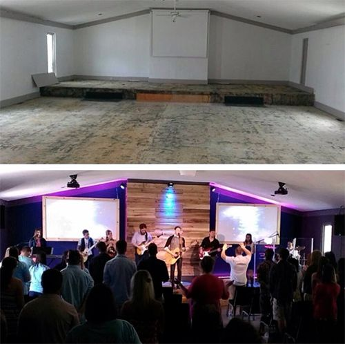Small Church Sanctuary Design Ideas church stage design idea with wall mounted staggered backlit canvas panels painted with stain Church Renovation Sanctuary Before After 7thhouseontheleftcom