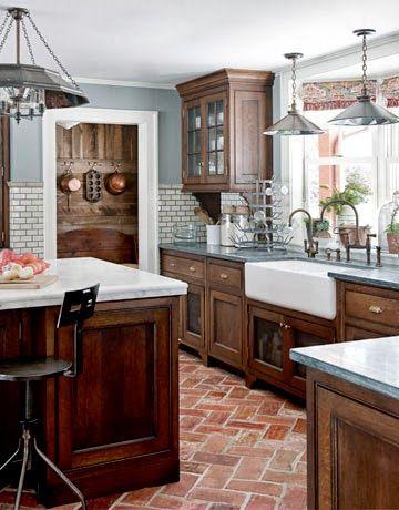 raw beauty brick floors modern farmhouse kitchens rustic farmhouse kitchen farmhouse on farmhouse kitchen flooring id=44338