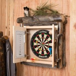 Rustic Aspen Log Darboard Cabinet Dart Board Cabinet Game Room Furniture Dart Board