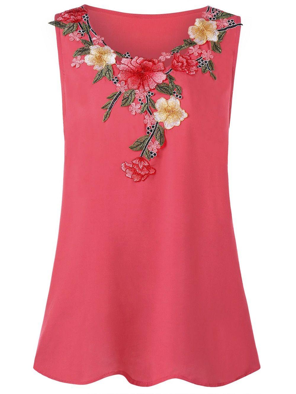 f6e74eeeb7b1d Floral Neckline Top. Floral Neckline Top Plus Size ...