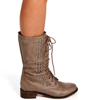 Beige Lace Up Side Stud Combat Boots