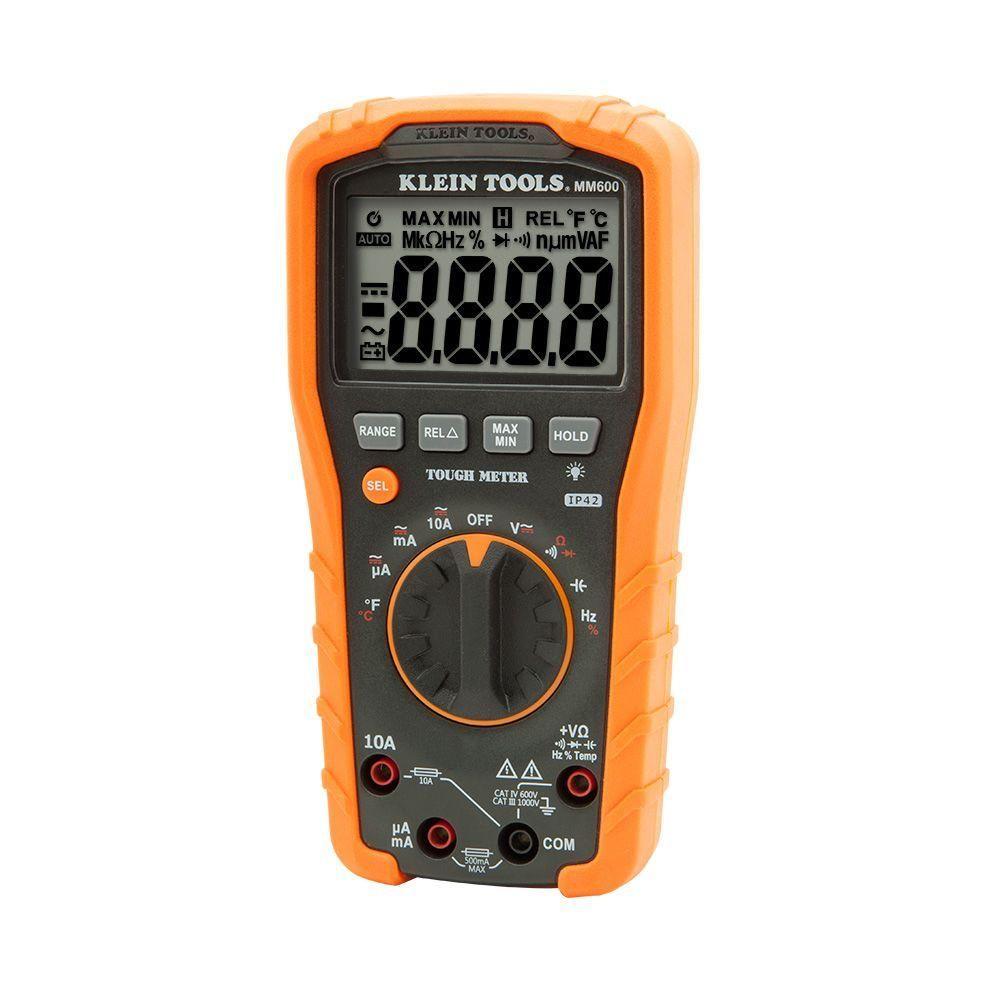 Klein Tools 1000v Auto Ranging Digital Multimeter Mm600 The Home Depot Klein Tools Multimeter Electrical Tools