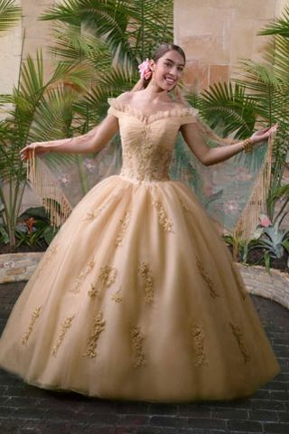 Golden Ball Gown with Ruffled Off the Shoulder Neckline | Robes ...