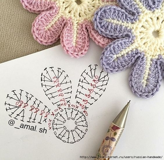 Схемы вязания простых цветочков и звездочек (5) (596x583, 280Kb ...