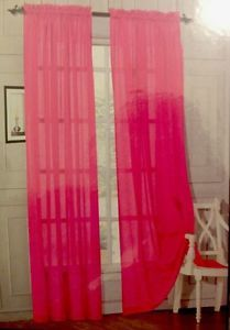Neon Pink D For Windows Voile Window Panel Curtain Cover Treatment