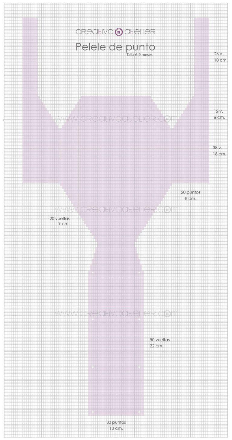 Pelele a Dos Agujas de bebé - [ Tutorial y Patrón de pelele tejido ...