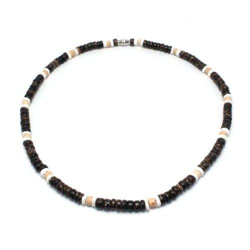796155476c69b 5mm Dark Brown Coco Bead Hawaiian Surfer Necklace with White Puka ...