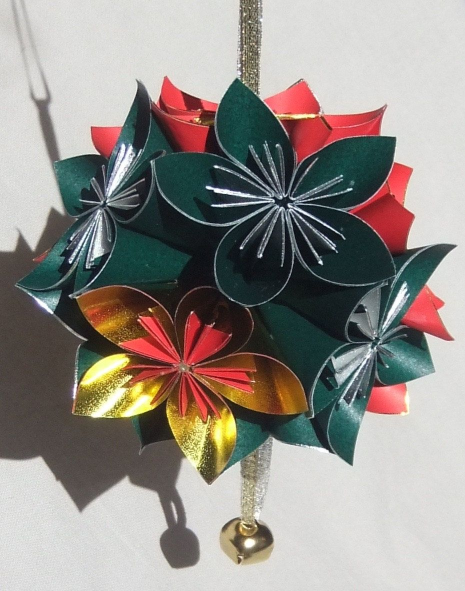Origami christmas tree ornament shine christmas ball origami large sparkle origami christmas ornament christmas ball origmai ornament christmas decor flower mightylinksfo