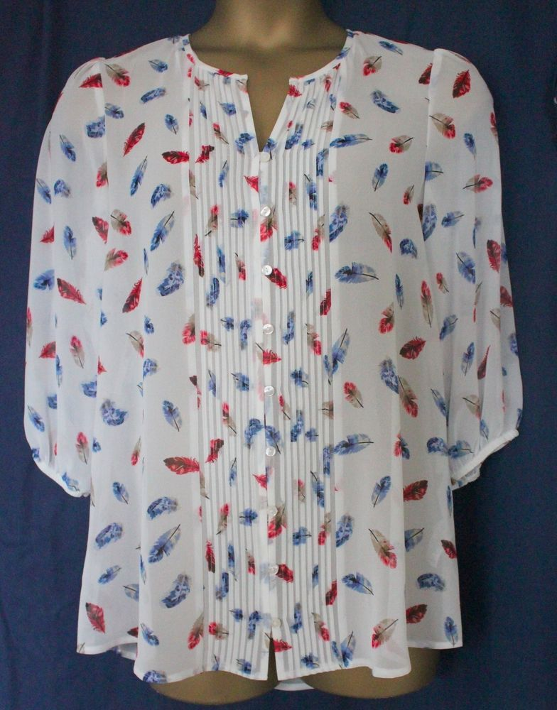 eaf1306d31a New George White Feather Print Ladies 3/4 Sleeve Tunic Blouse Top Size 12