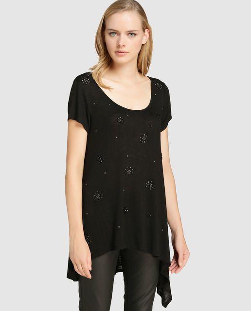 e740162c4224 Camiseta larga de mujer Elogy con strass | Ropa | Camisetas ...