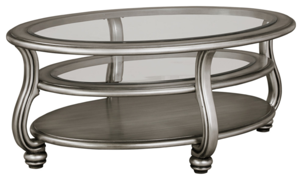 Best Coralayne Oval Cocktail Table Silver Traditional 640 x 480