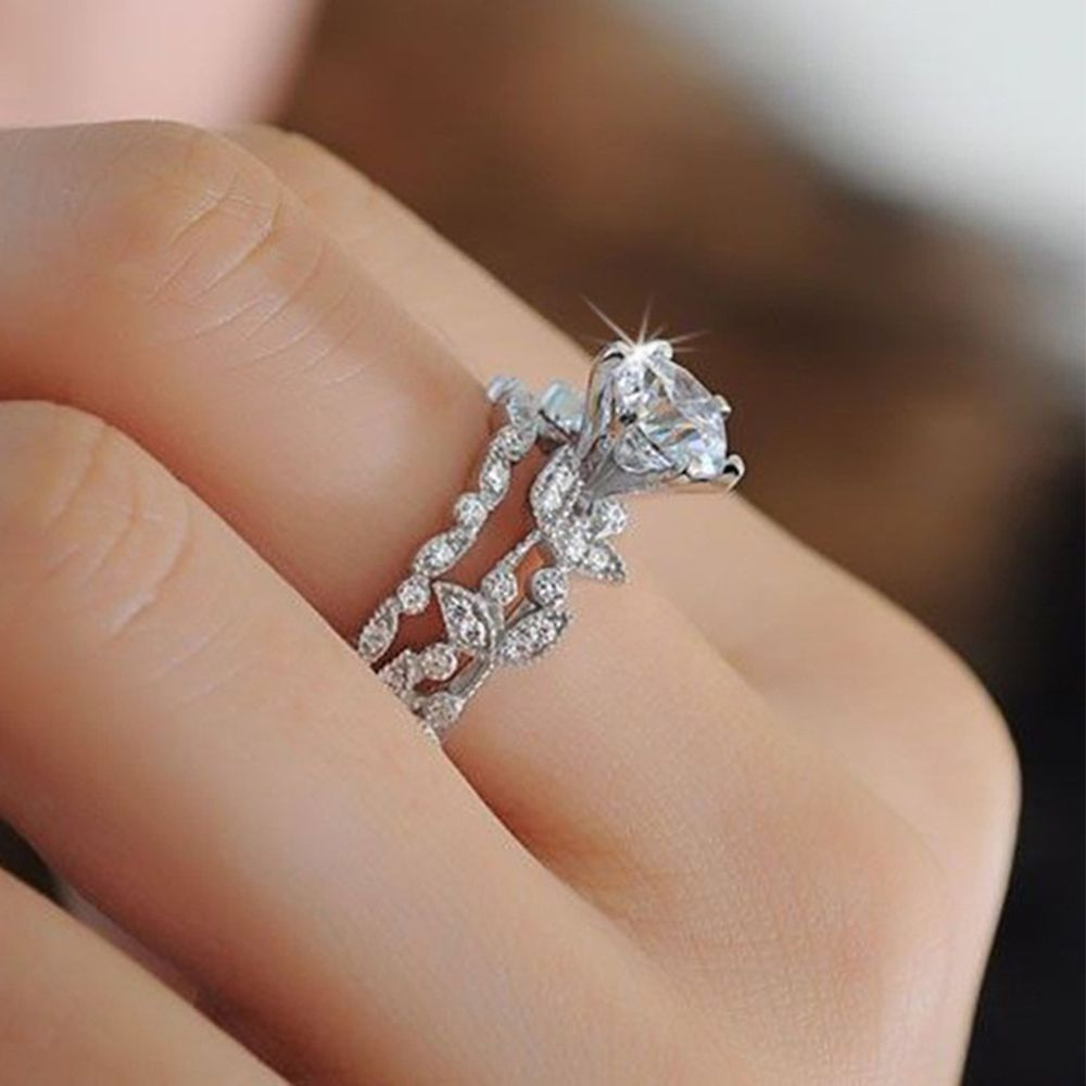 Trendy Bridal Ring Sets Women For Zirconia Rings Wedding Engagement Jewelry Wedding Rings Unique Wedding Rings For Women Unique Engagement Rings