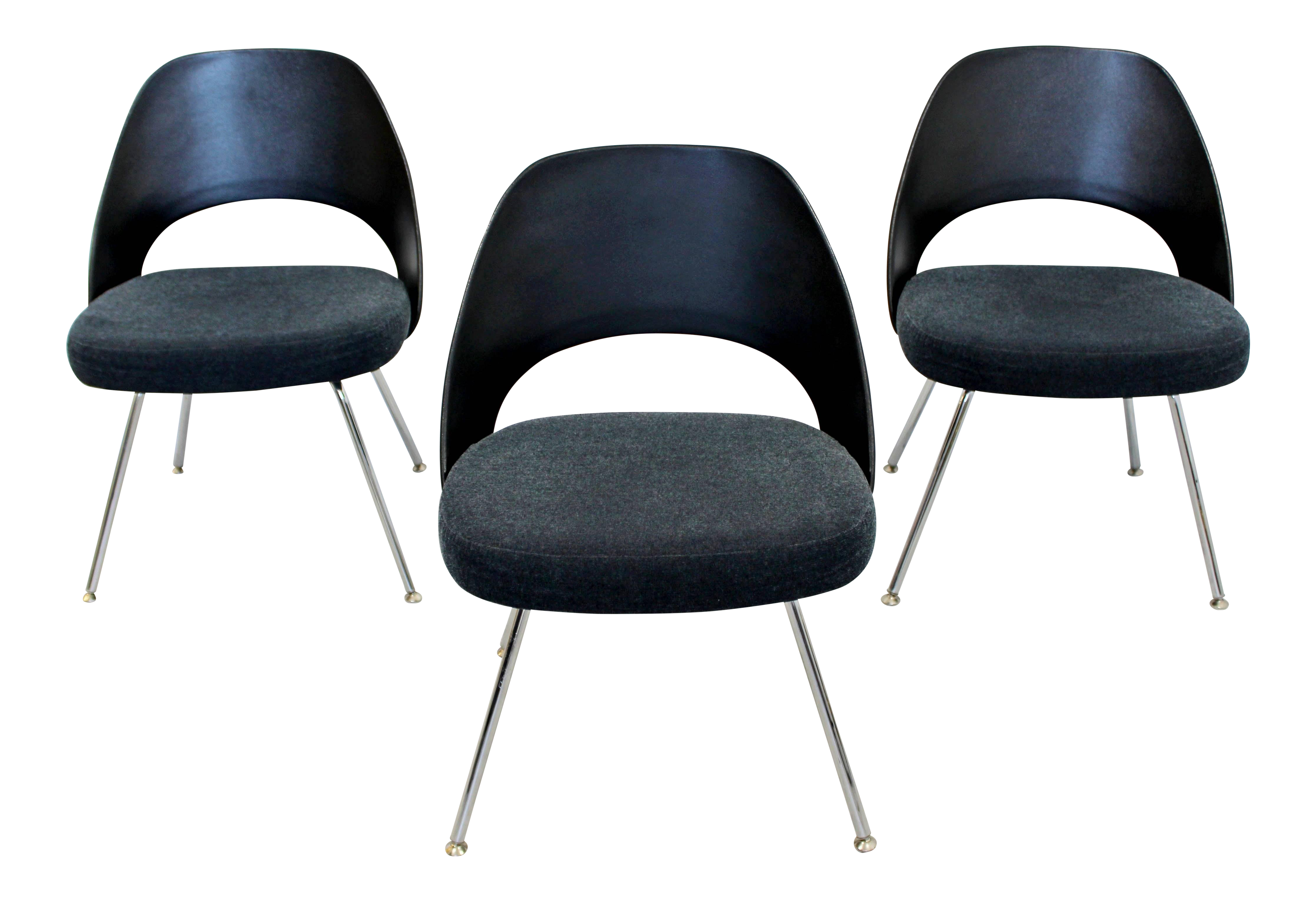 Office Side Chairs Folding Round Chair Modern Eero Saarinen For Knoll Set Of 3 On Chairish Com