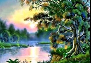 اجمل اللوحات الفنية الطبيعية رسم زيتي طبيعي بسيط رائع الجمال