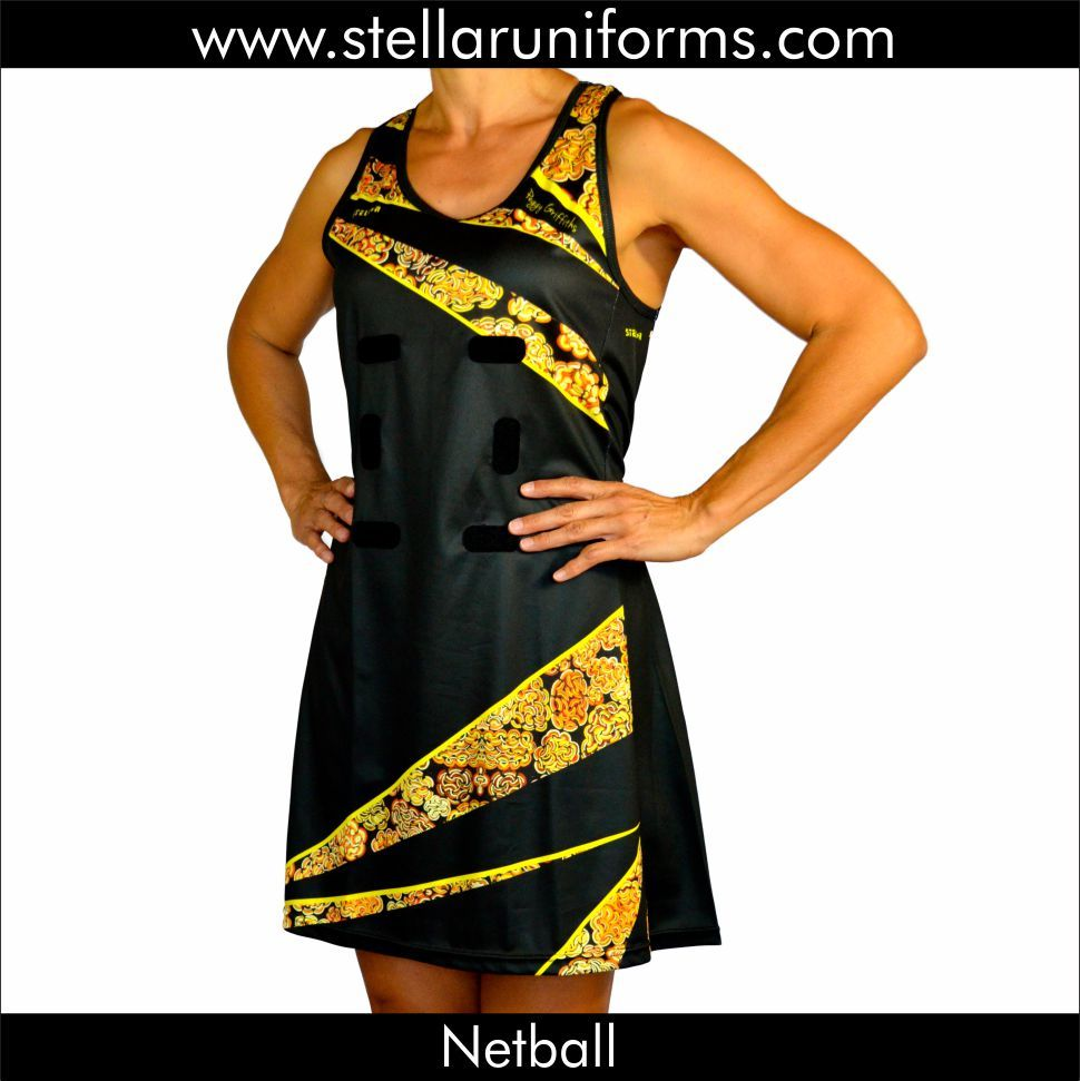 "Netball A-Line Dress. Aboriginal Design. Cultural Design. Aboriginal Artist ""Peggy Griffiths""."