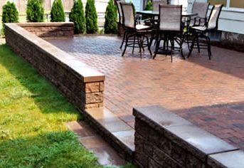Brick Patio With Retaining Wall Brick Patios Patio Backyard