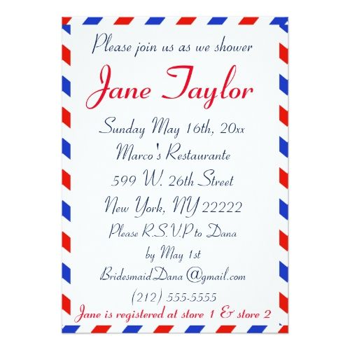 blue and red air mail bridal shower card