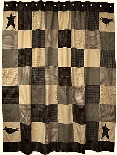 New Primitive Kettle Grove Crow Star Patchwork Quilt Shower Curtain Black Tan Country