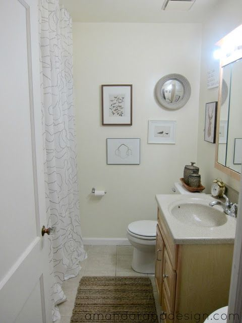 Easy Bathroom Decorating Windowless Bathroom Tall Shower Curtain Jute Rug Gallery Wall Art