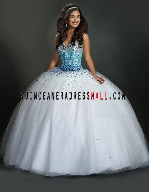 2014 Cute sweetheart neck sequin beading white puffy quinceanera ...