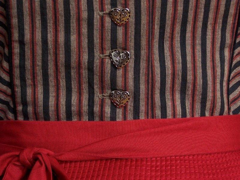 Vintage Dirndl+Schürze+Bluse, braun rot, Gr.38/40