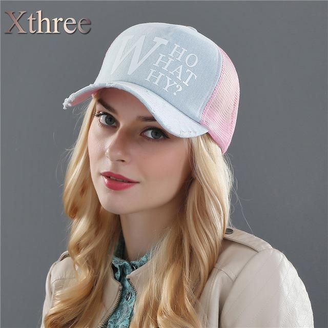 780f6027d1 Xthree summer female baseball caps woman snapback hat denim mesh cap  casquette bone hats for women men