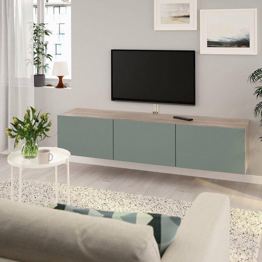 Besta Banc Tv Avec Portes Motif Noyer Teinte Gris Notviken Gris Vert Ikea En 2020 Banc Tv Salon Tele Tv Monte Sur Le Mur
