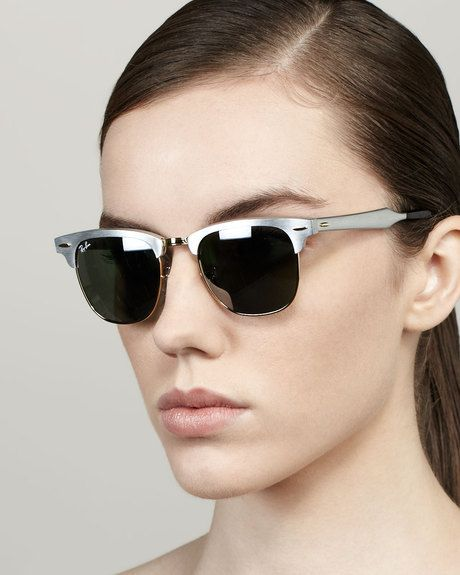 905476cbc4 Mirrored Lens Metal Clubmaster Sunglasses Silver - Lyst