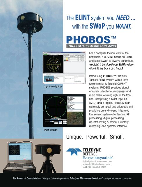 Teledyne Defence Phobos Low Cost Tactical Threat Warning Elint System Threat Tactical System