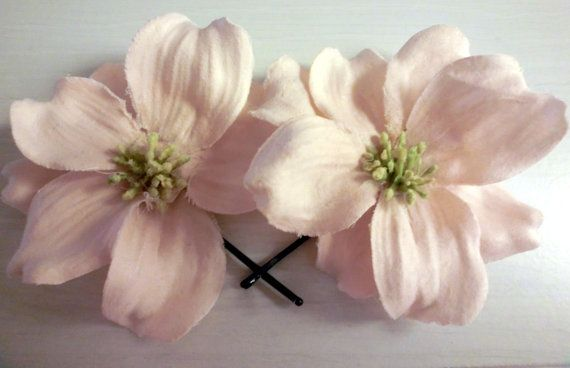 Pink Flower Hair Clips Floral Bobby Pins by DesignsByAnahita,