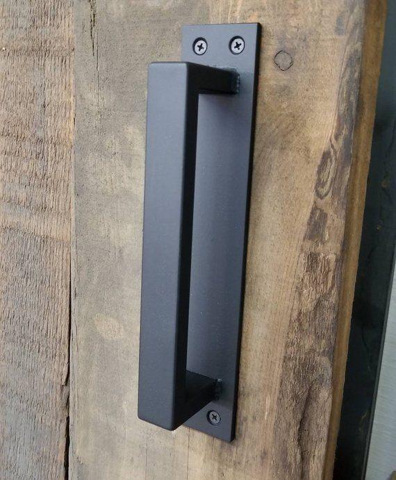 Barn Door Handle 1 2 X 1 Rectangle Steel On Low Etsy Barn Door Handles Door Handles Industrial Door
