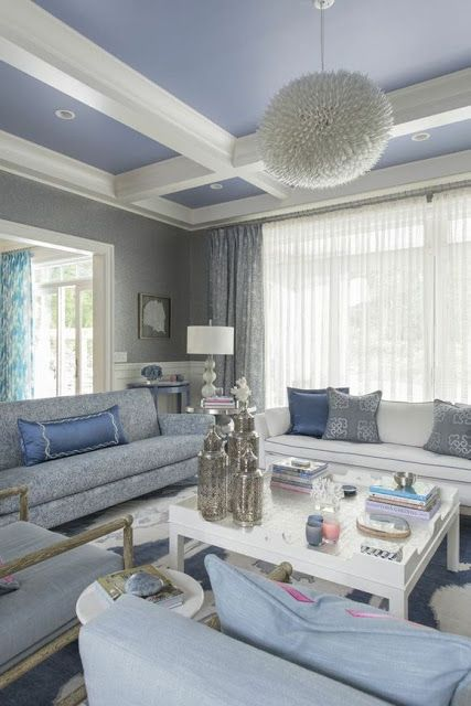 Blue And Gray Living Room With Coffered Ceilings I Think Im Liking