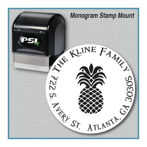 Pineapple Hospitality Theme Monogram Stamp Personalized Pineapple