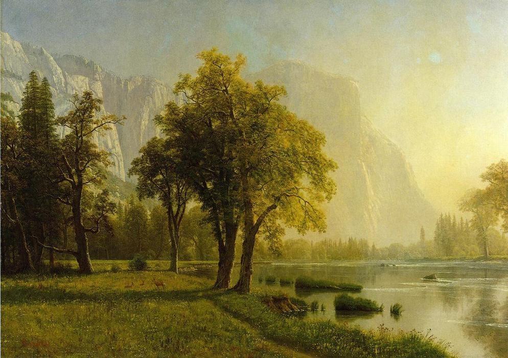 El Capitan, Yosemite Valley\', öl auf leinwand von Albert Bierstadt ...