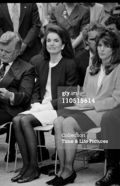 Ted, Jackie, and Caroline Kennedy