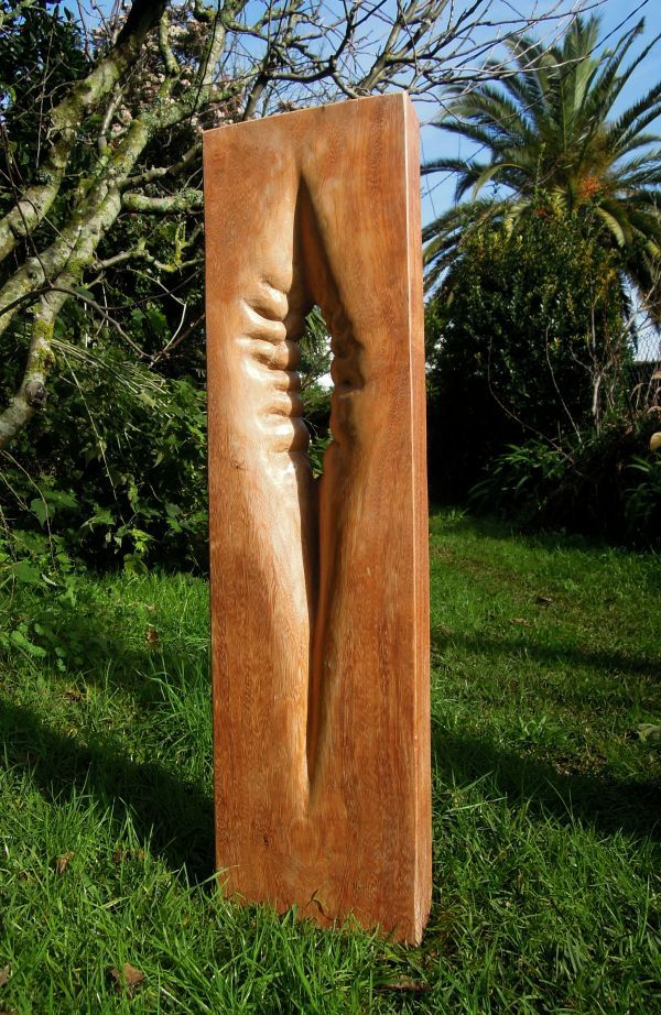 Ordinary Tall Garden Statues #8: Wood By Liliya Pobornikova Titled: U0027Natural Forms (Tall Carved Small Garden  Statue)u0027.