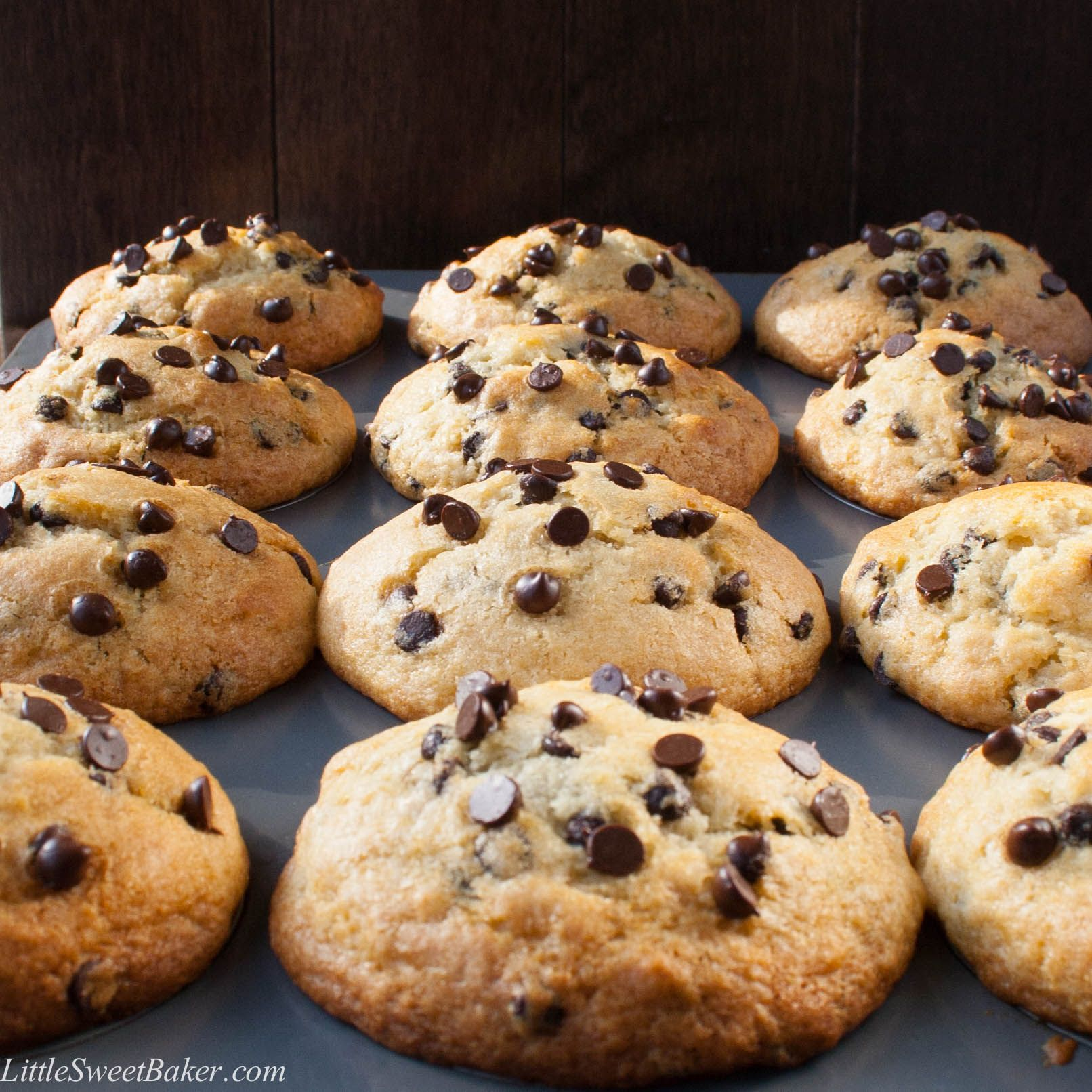 Bakery Style Chocolate Chip Muffins (video   Recipe   Sky high ...