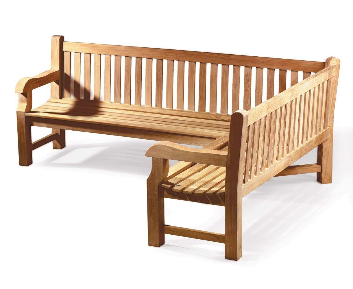 Jati Gladstone Teak ASSEMBLED Wooden Corner Garden Bench ...