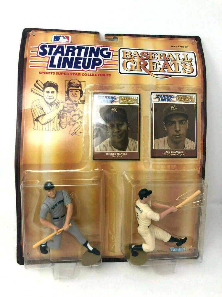 Vintage Starting Lineup Mickey Mantle Joe DiMaggio Baseball Greats 1989