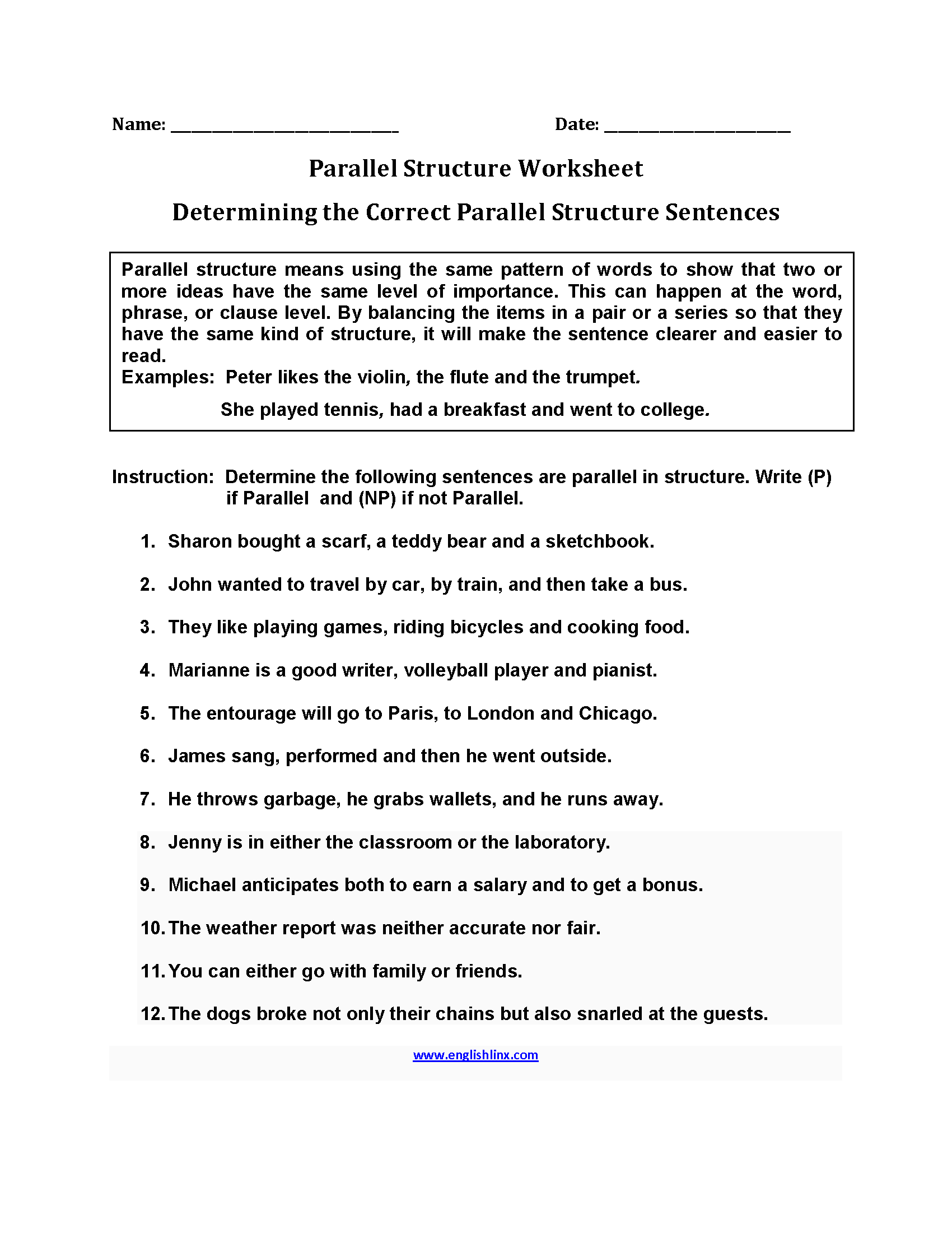 Determining Parallel Structure Worksheets