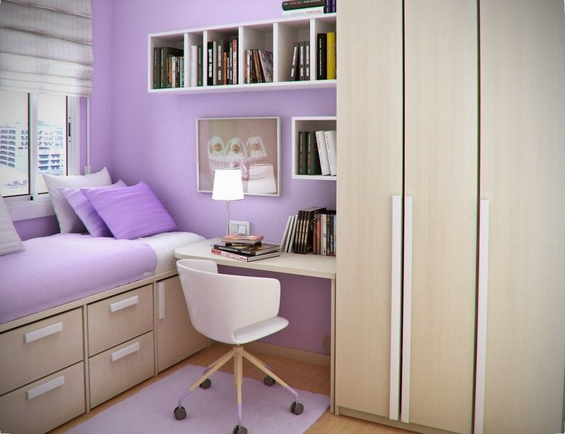 Small Bedroom Design with Space Saving and Minimalist Furniture and Purple  Rug and Loft Bed and Small White Study Desk By Sergi Mengot .