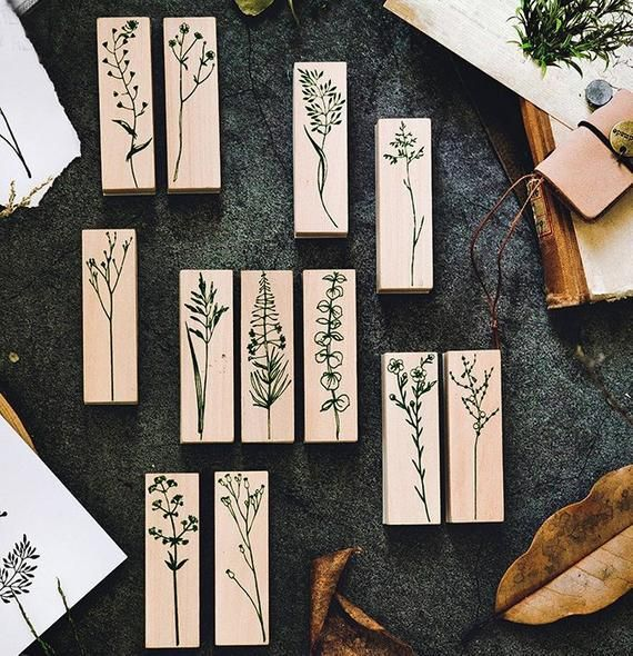12 Color Leaves Wood Craft Rubber Stamps. Leave Stamp. Wood Stamp. Rubber Stamp. Planner Stamp. Grass Stamp. Plant Stamp. Flower Stamp. #rubberstamping