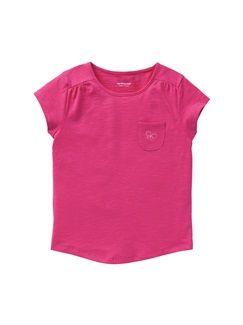 Camiseta de punto flameado de manga corta niña