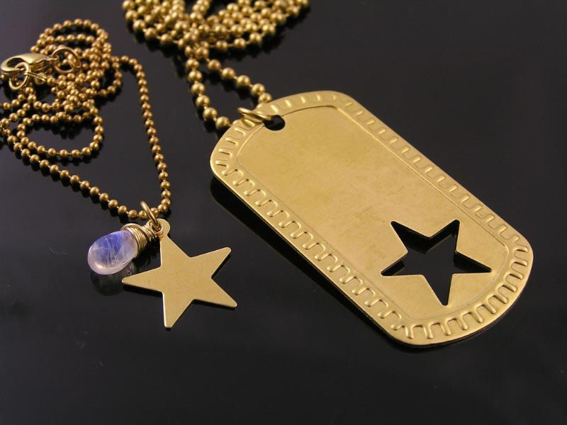 68f36880bc Matching Couple Necklace, Boyfriend Girlfriend Necklace, Dog Tag Star  Necklaces…